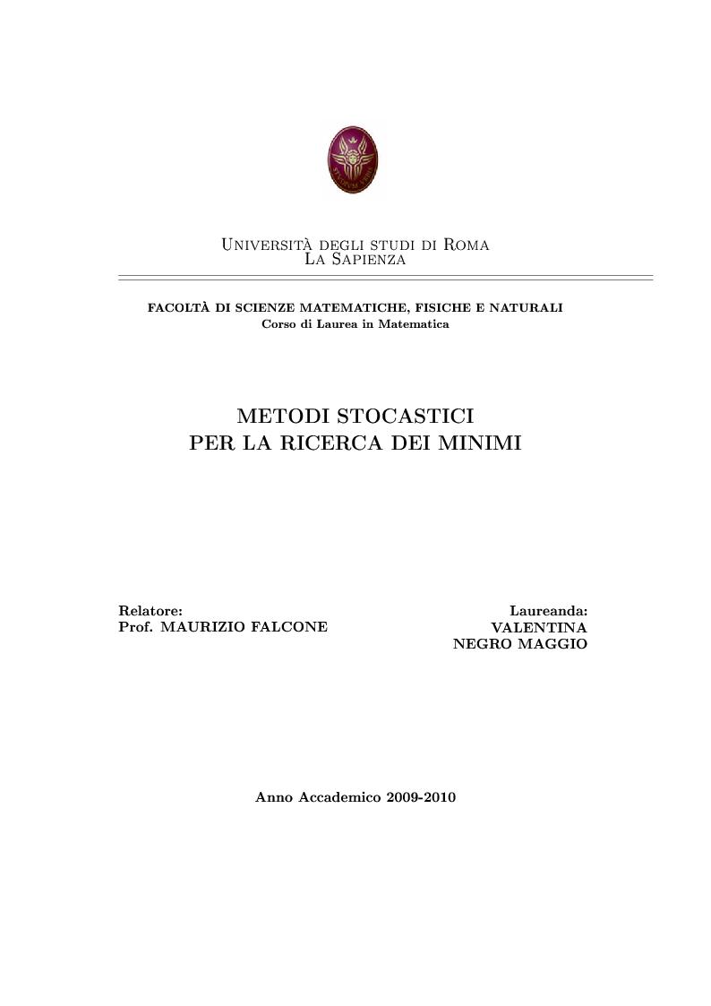 Anteprima della tesi: Metodi stocastici per la ricerca dei minimi, Pagina 1