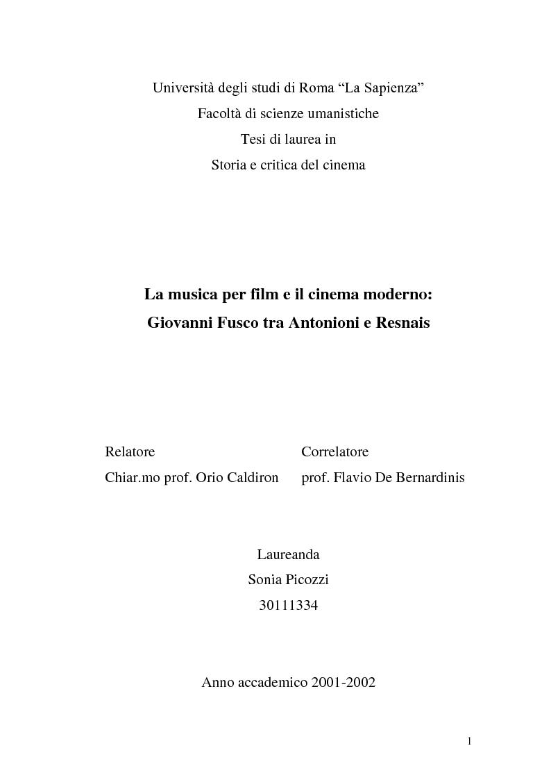 Anteprima della tesi: La musica per film e il cinema moderno. Giovanni Fusco tra Antonioni e Resnais, Pagina 1