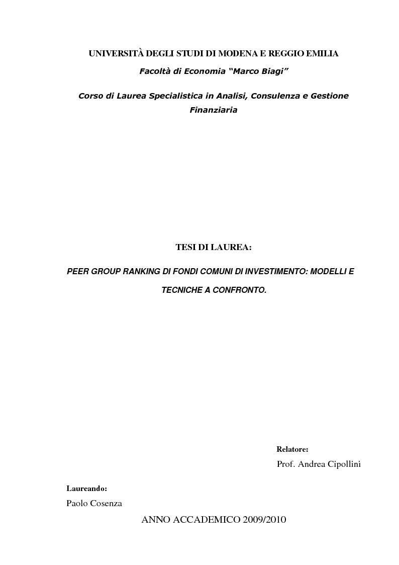 Anteprima della tesi: Peer Group Ranking di Fondi Comuni di Investimento: Modelli e Tecniche a Confronto, Pagina 1