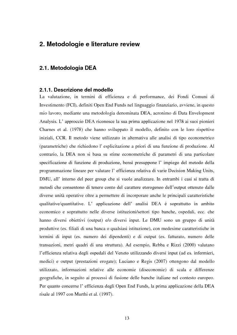 Anteprima della tesi: Peer Group Ranking di Fondi Comuni di Investimento: Modelli e Tecniche a Confronto, Pagina 2