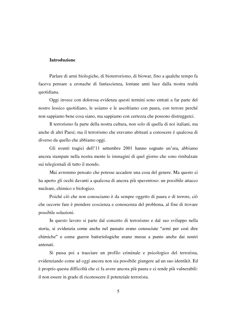 Anteprima della tesi: Bioterrorismo: antrace come strumento di aggressione. Aspetti psicologici del terrorismo, Pagina 2