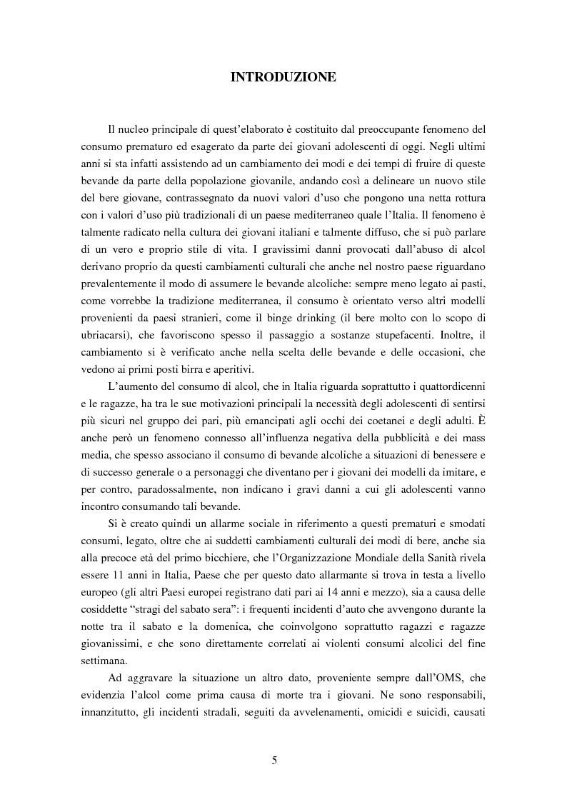 Anteprima della tesi: Giovani e alcol. Un approfondimento empirico nella realtà feltrina, Pagina 2