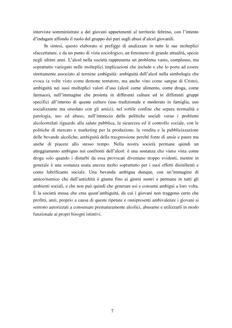 Anteprima della tesi: Giovani e alcol. Un approfondimento empirico nella realtà feltrina, Pagina 4
