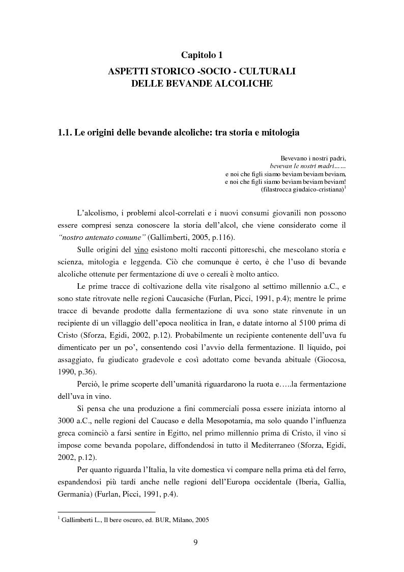 Anteprima della tesi: Giovani e alcol. Un approfondimento empirico nella realtà feltrina, Pagina 6