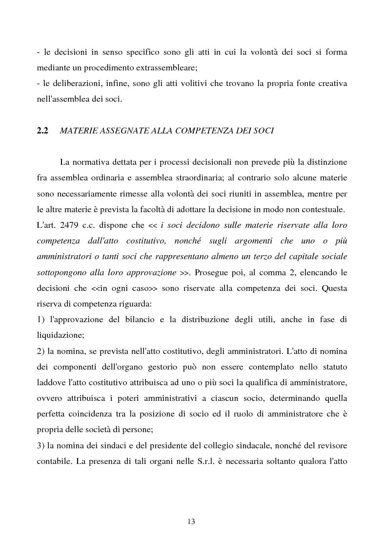 Anteprima della tesi: S.R.L. La partecipazione del socio attraverso l'assemblea e gli altri metodi di formazione delle decisioni: riflessi sulla redazione dello statuto., Pagina 14