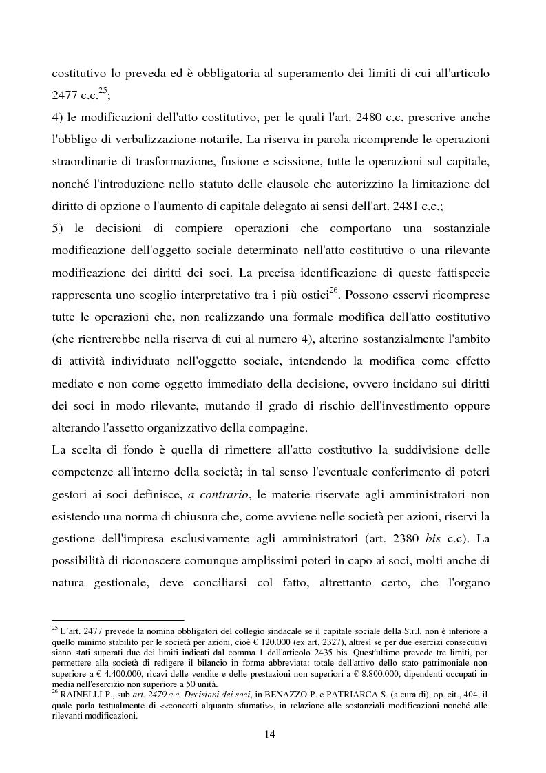 Anteprima della tesi: S.R.L. La partecipazione del socio attraverso l'assemblea e gli altri metodi di formazione delle decisioni: riflessi sulla redazione dello statuto., Pagina 15