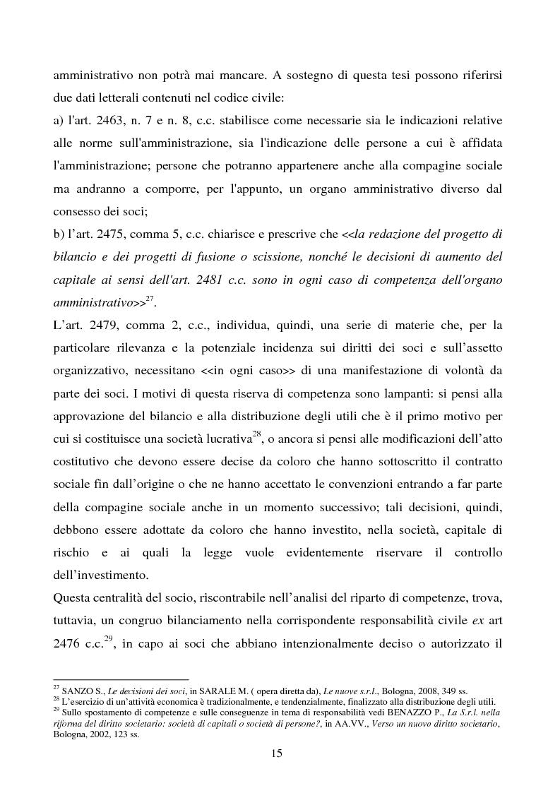 Anteprima della tesi: S.R.L. La partecipazione del socio attraverso l'assemblea e gli altri metodi di formazione delle decisioni: riflessi sulla redazione dello statuto., Pagina 16