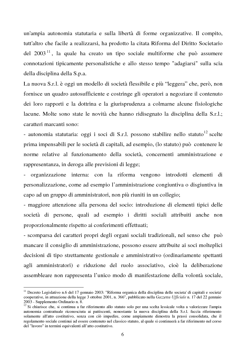 Anteprima della tesi: S.R.L. La partecipazione del socio attraverso l'assemblea e gli altri metodi di formazione delle decisioni: riflessi sulla redazione dello statuto., Pagina 7