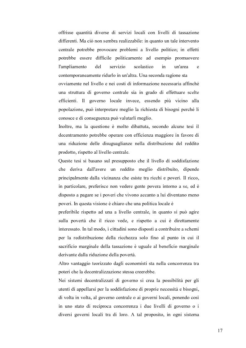 Anteprima della tesi: Principali problematiche di attuazione del disegno di federalismo fiscale in Italia, Pagina 14