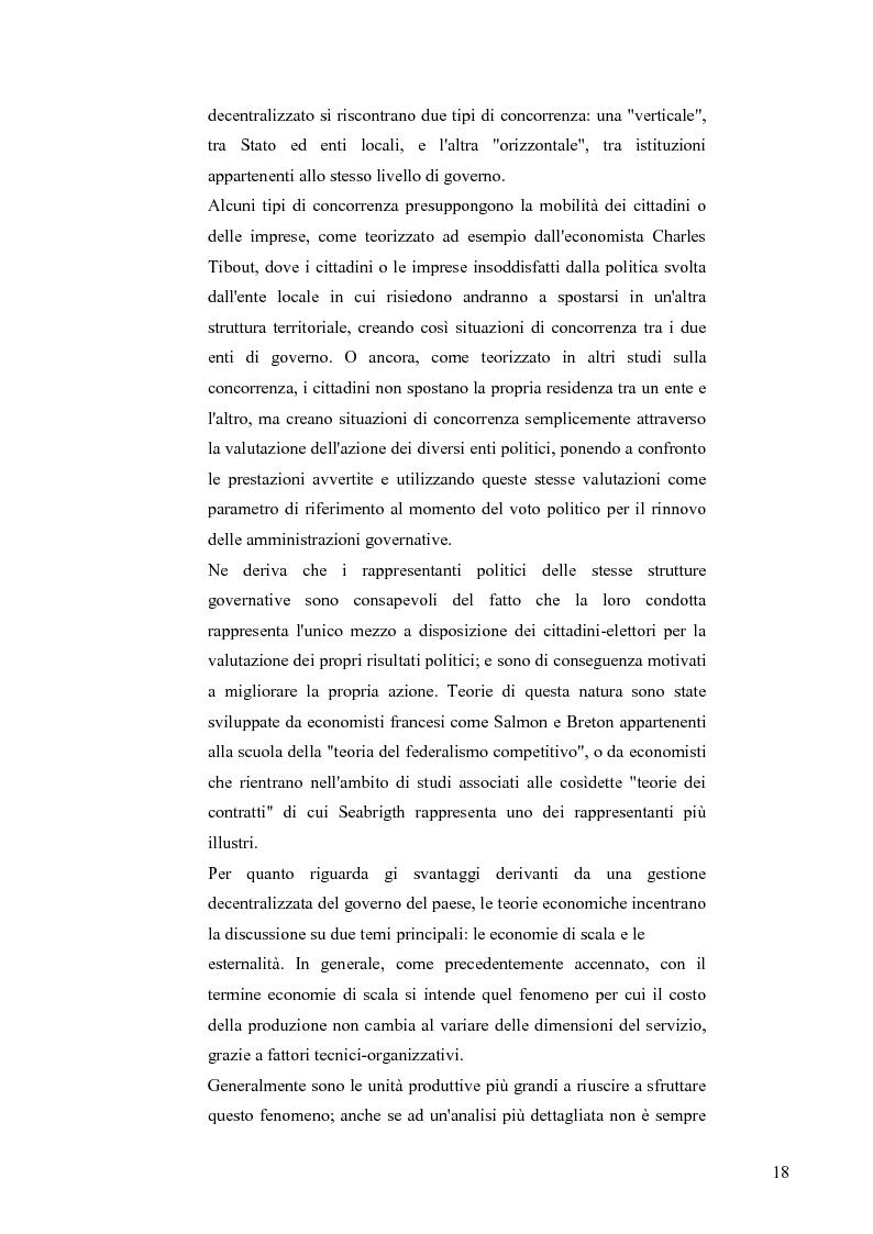 Anteprima della tesi: Principali problematiche di attuazione del disegno di federalismo fiscale in Italia, Pagina 15