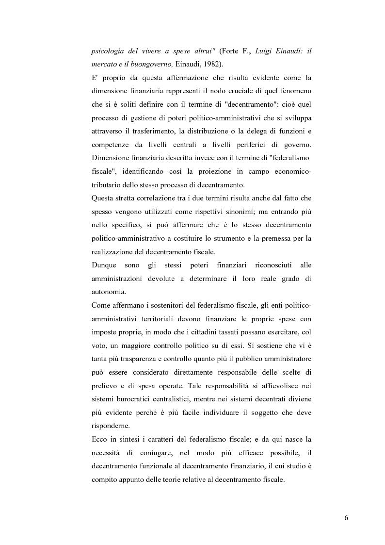 Anteprima della tesi: Principali problematiche di attuazione del disegno di federalismo fiscale in Italia, Pagina 3