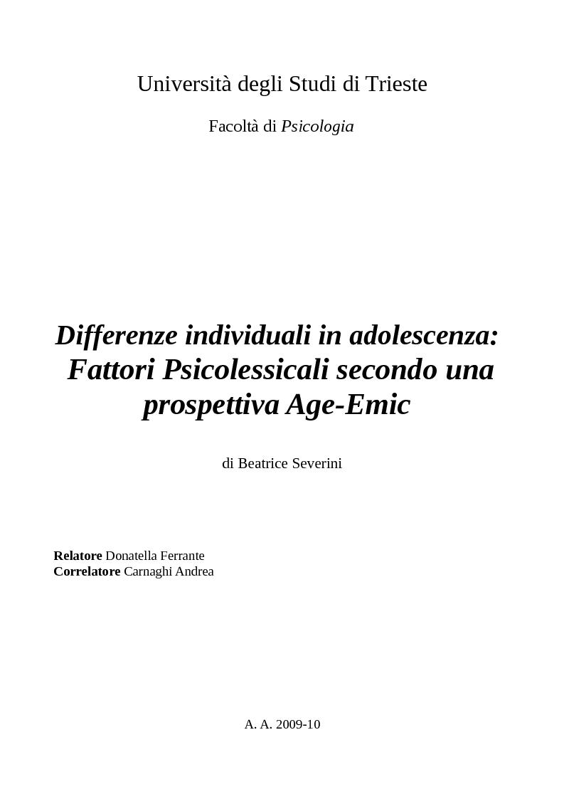 Anteprima della tesi: Differenze individuali in adolescenza: fattori psicolessicali secondo una prospettiva Age-Emic, Pagina 1