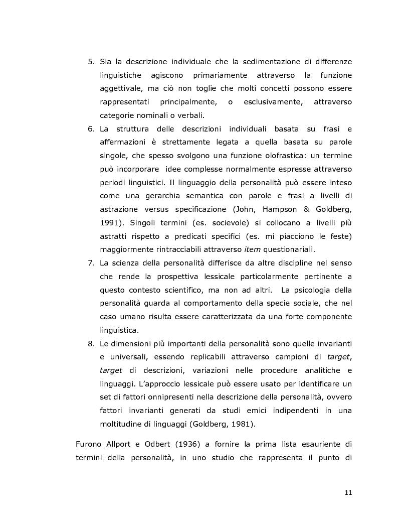 Anteprima della tesi: Differenze individuali in adolescenza: fattori psicolessicali secondo una prospettiva Age-Emic, Pagina 10
