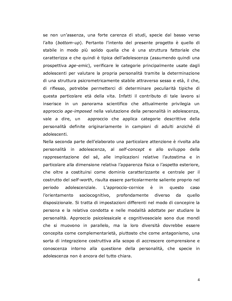 Anteprima della tesi: Differenze individuali in adolescenza: fattori psicolessicali secondo una prospettiva Age-Emic, Pagina 3
