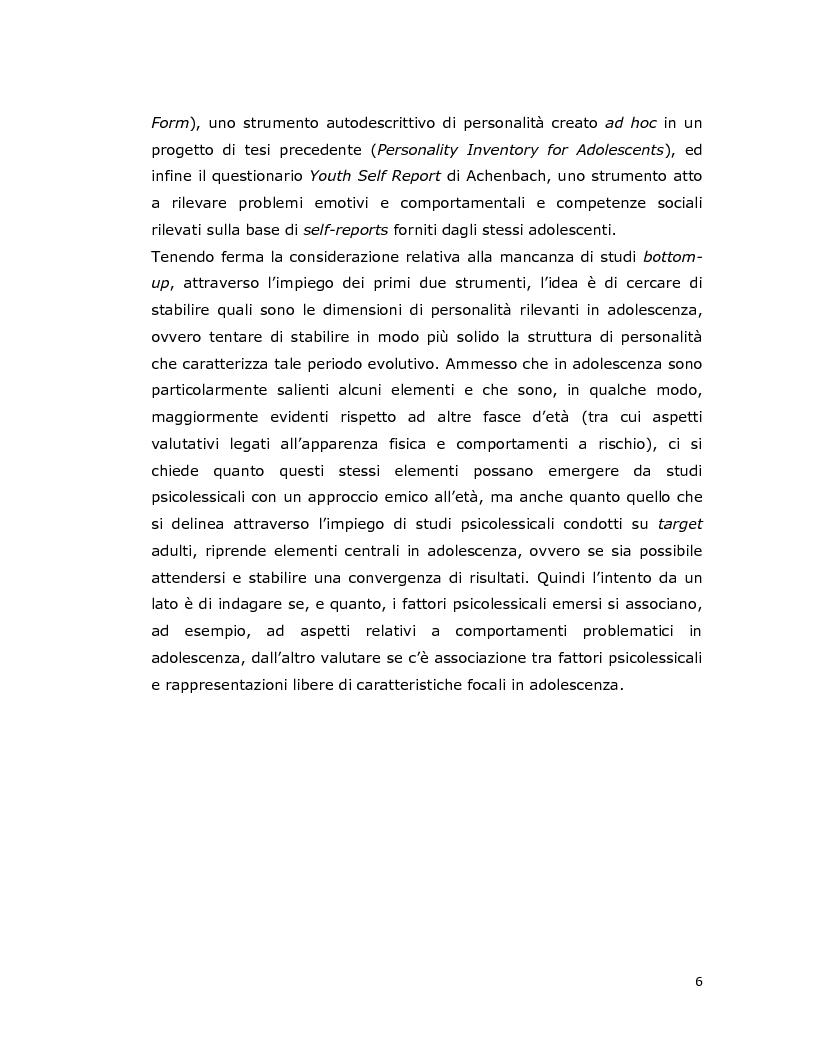 Anteprima della tesi: Differenze individuali in adolescenza: fattori psicolessicali secondo una prospettiva Age-Emic, Pagina 5