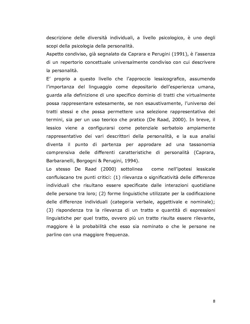 Anteprima della tesi: Differenze individuali in adolescenza: fattori psicolessicali secondo una prospettiva Age-Emic, Pagina 7