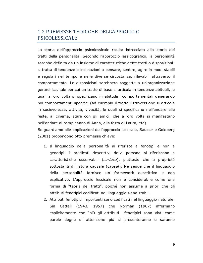 Anteprima della tesi: Differenze individuali in adolescenza: fattori psicolessicali secondo una prospettiva Age-Emic, Pagina 8