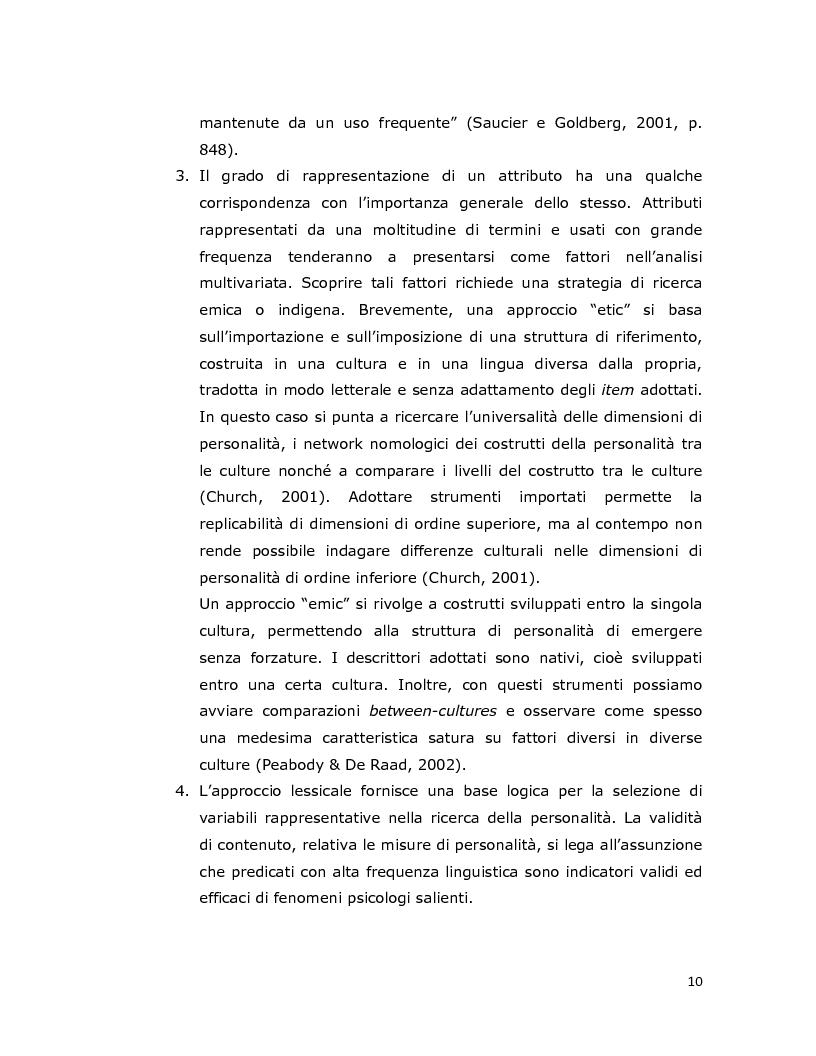 Anteprima della tesi: Differenze individuali in adolescenza: fattori psicolessicali secondo una prospettiva Age-Emic, Pagina 9