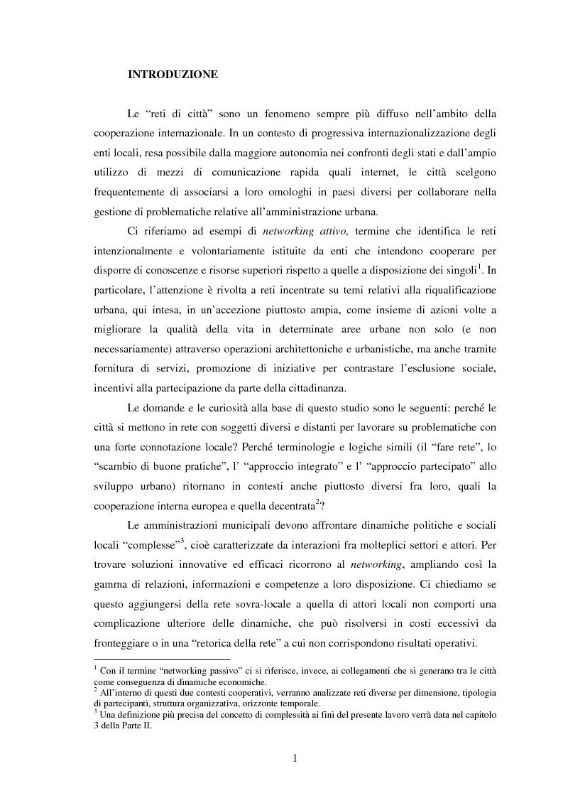 Anteprima della tesi: Reti internazionali e cooperazione tra città: logiche e problematiche del networking attivo nella definizione di politiche e progetti urbani, Pagina 2