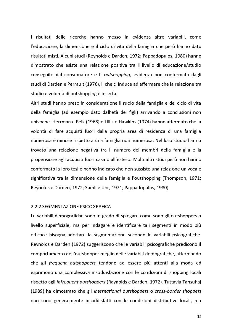 Anteprima della tesi: Outshopping: situazione attuale e tendenze evolutive. Una ricerca empirica al confine tra Friuli-Venezia Giulia e Slovenia, Pagina 16