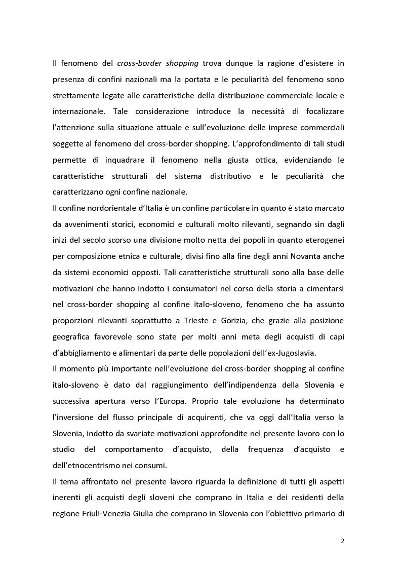 Anteprima della tesi: Outshopping: situazione attuale e tendenze evolutive. Una ricerca empirica al confine tra Friuli-Venezia Giulia e Slovenia, Pagina 3