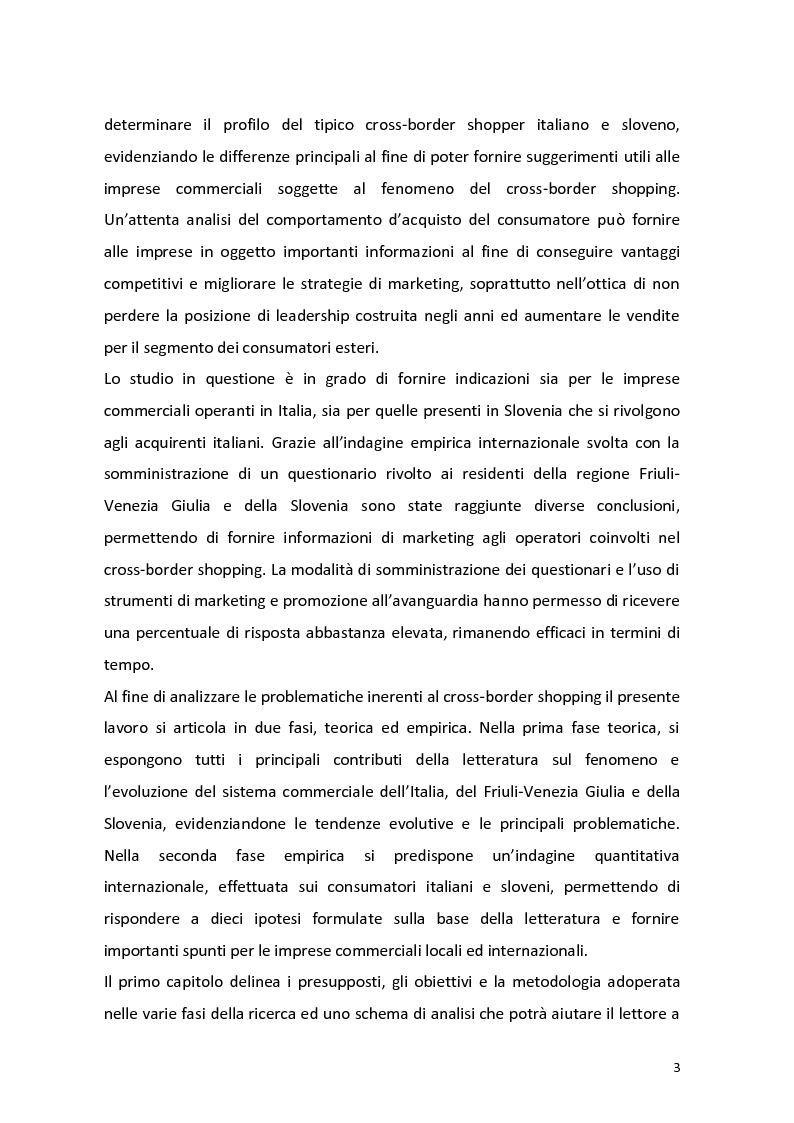 Anteprima della tesi: Outshopping: situazione attuale e tendenze evolutive. Una ricerca empirica al confine tra Friuli-Venezia Giulia e Slovenia, Pagina 4