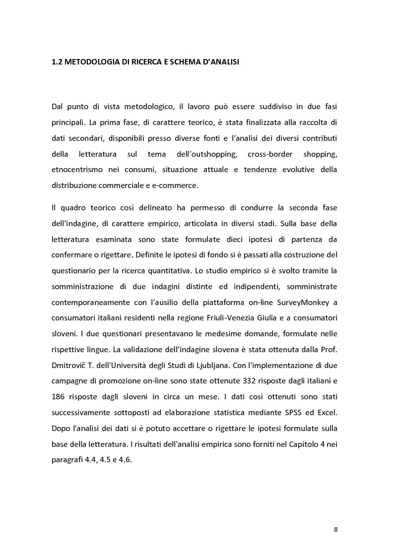 Anteprima della tesi: Outshopping: situazione attuale e tendenze evolutive. Una ricerca empirica al confine tra Friuli-Venezia Giulia e Slovenia, Pagina 9