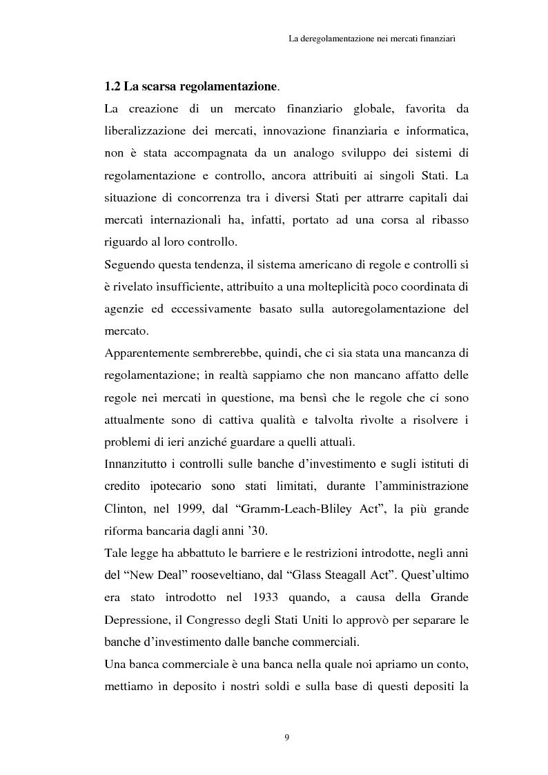 Anteprima della tesi: La Crisi connessa ai nuovi strumenti dell'innovazione finanziaria: il problema di una nuova regolamentazione globale, Pagina 10