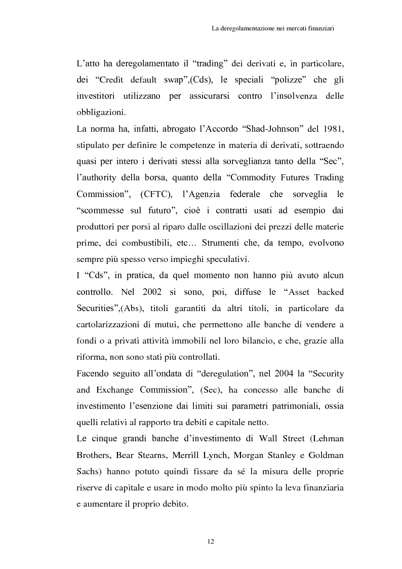 Anteprima della tesi: La Crisi connessa ai nuovi strumenti dell'innovazione finanziaria: il problema di una nuova regolamentazione globale, Pagina 13