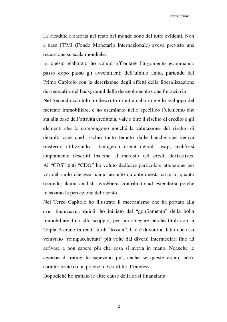 Anteprima della tesi: La Crisi connessa ai nuovi strumenti dell'innovazione finanziaria: il problema di una nuova regolamentazione globale, Pagina 3