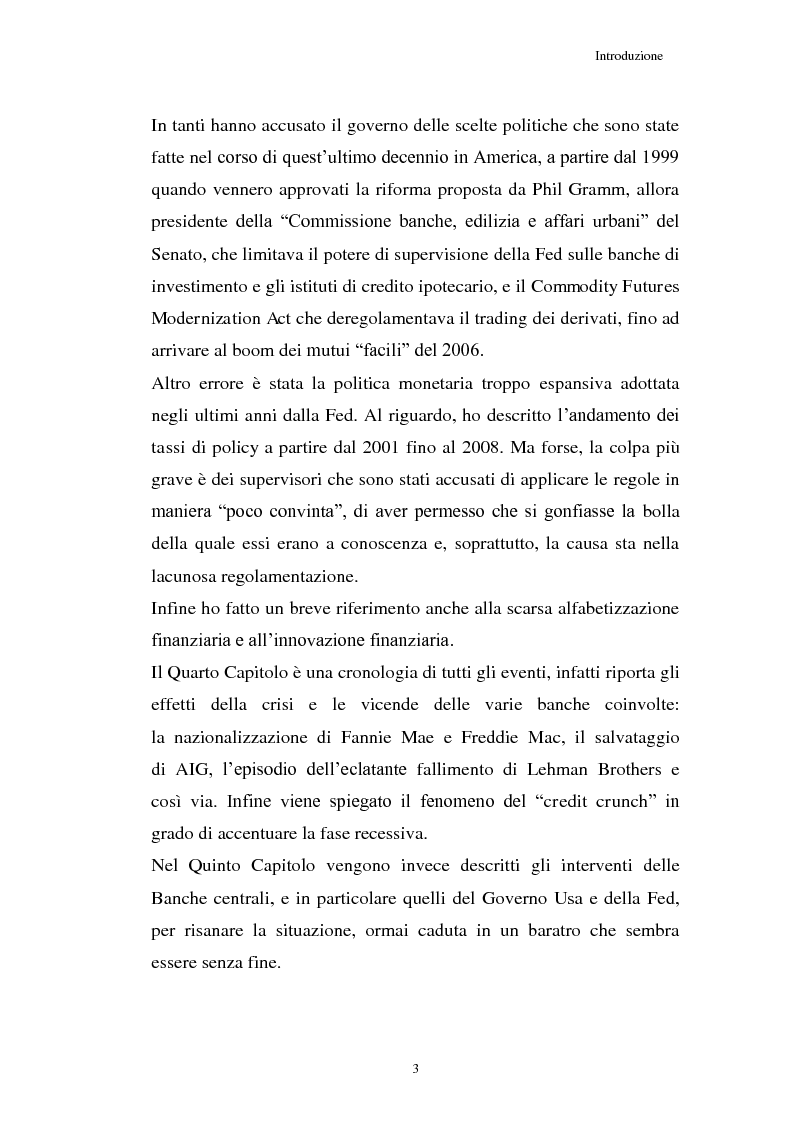 Anteprima della tesi: La Crisi connessa ai nuovi strumenti dell'innovazione finanziaria: il problema di una nuova regolamentazione globale, Pagina 4