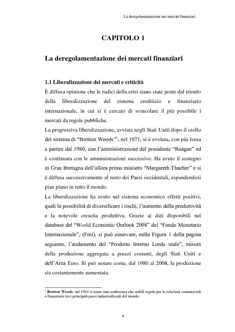 Anteprima della tesi: La Crisi connessa ai nuovi strumenti dell'innovazione finanziaria: il problema di una nuova regolamentazione globale, Pagina 7