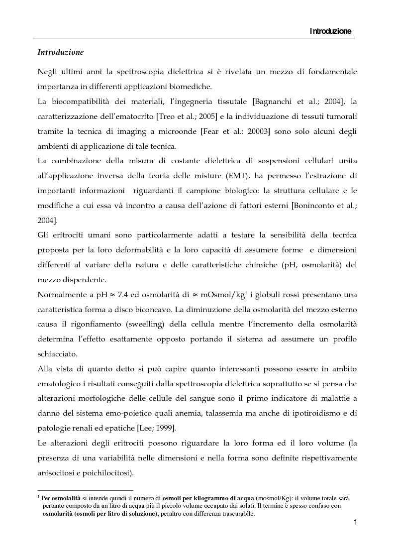 Anteprima della tesi: Spettroscopia dielettrica per la caratterizzazione morfologica di eritrociti umani, Pagina 2