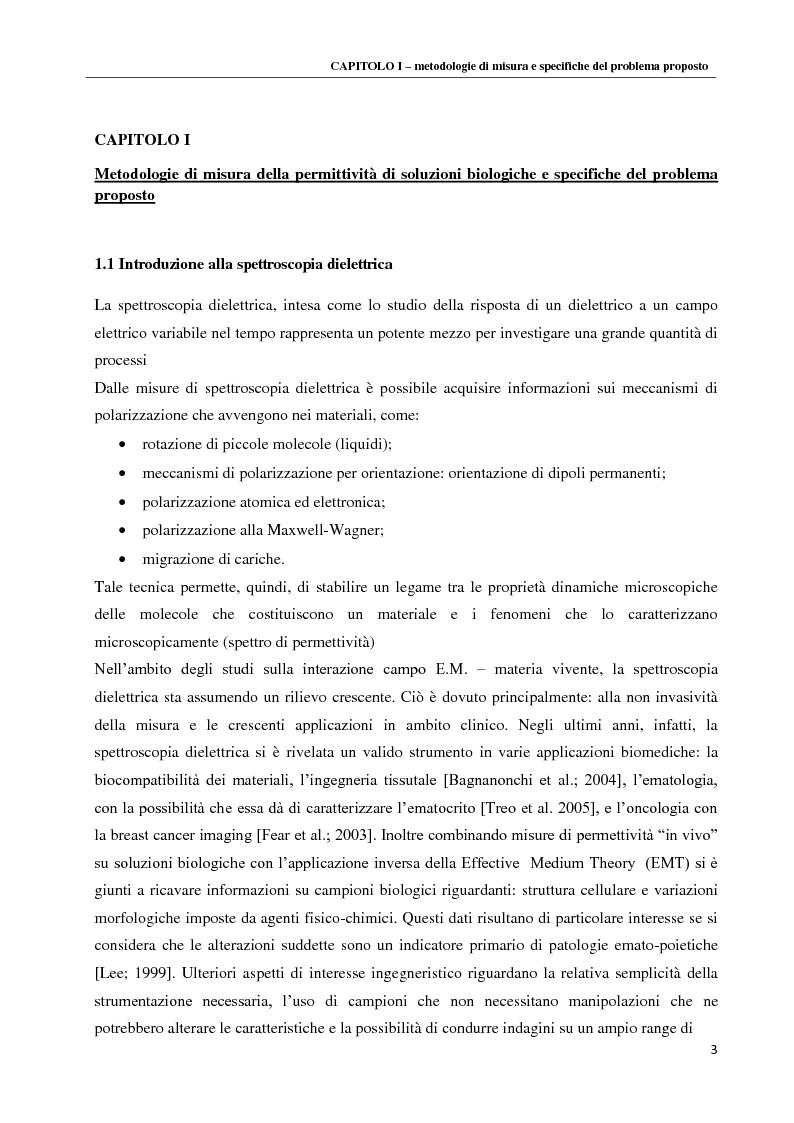 Anteprima della tesi: Spettroscopia dielettrica per la caratterizzazione morfologica di eritrociti umani, Pagina 5