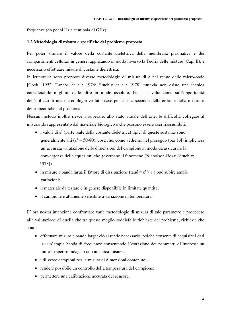Anteprima della tesi: Spettroscopia dielettrica per la caratterizzazione morfologica di eritrociti umani, Pagina 6
