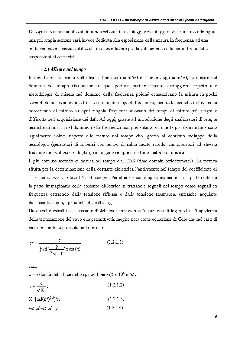 Anteprima della tesi: Spettroscopia dielettrica per la caratterizzazione morfologica di eritrociti umani, Pagina 8