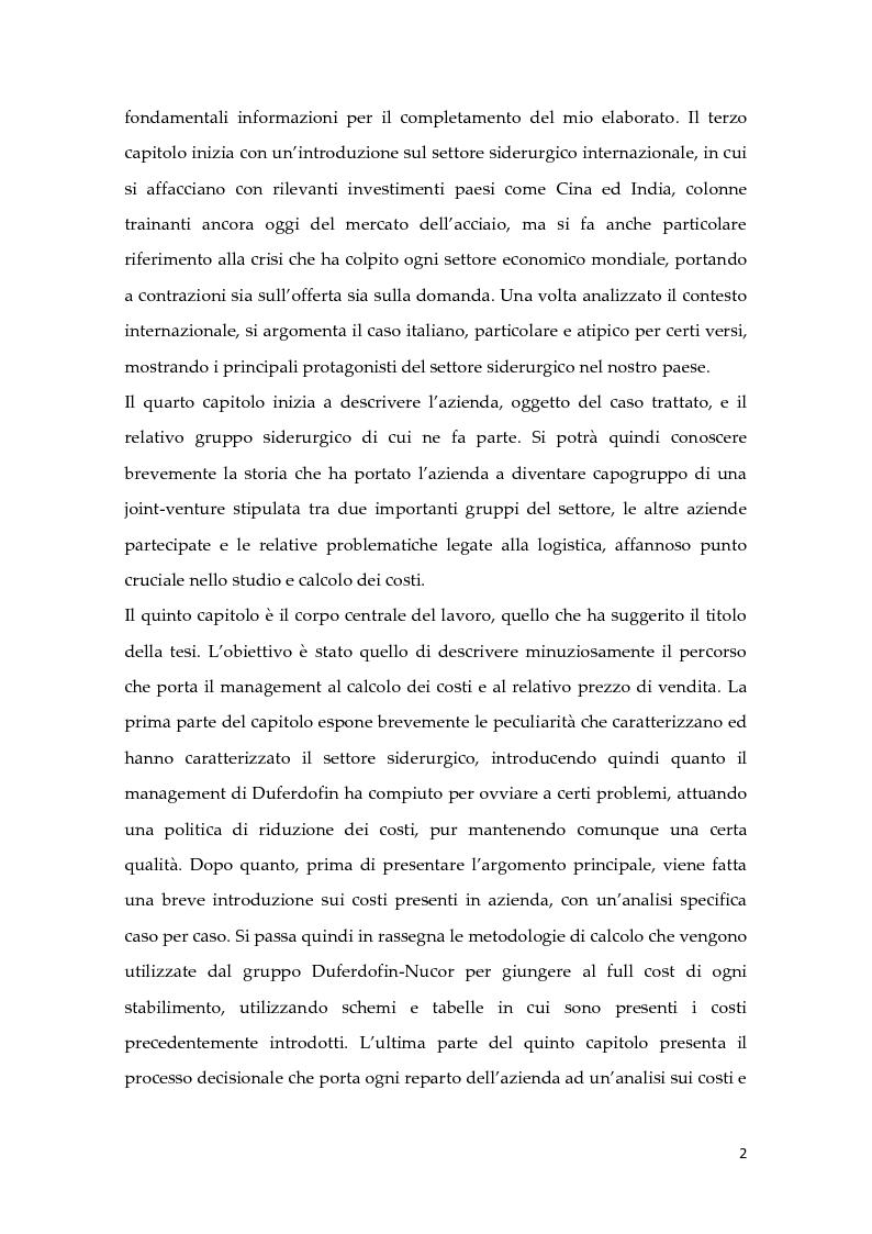 Anteprima della tesi: Metodologie di calcolo dei costi in un mercato maturo: il caso Duferdofin, Pagina 3