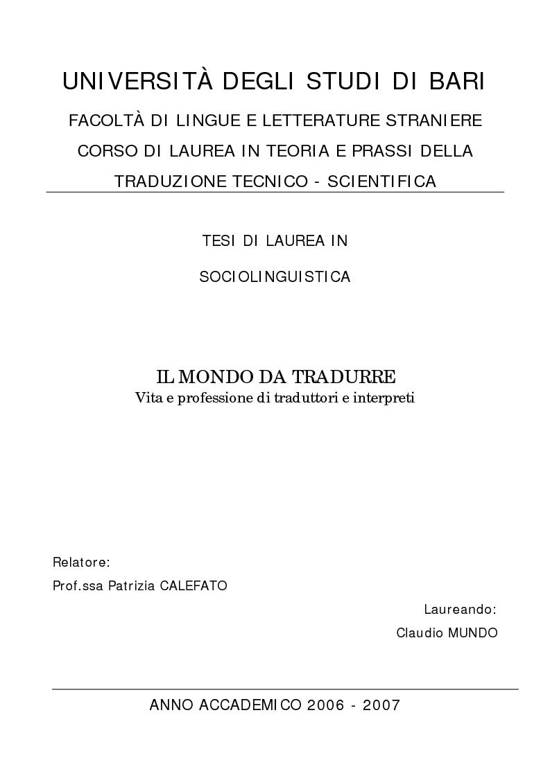 Anteprima della tesi: Il mondo da tradurre - Vita e professione di traduttori e interpreti, Pagina 1