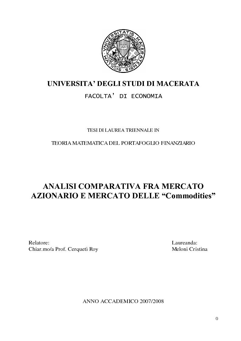 Anteprima della tesi: Analisi comparativa fra mercato azionario e mercato delle commodities, Pagina 1