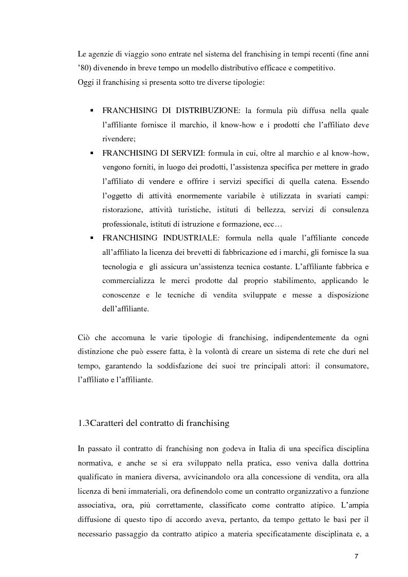 Anteprima della tesi: La formula Franchising nelle agenzie di viaggio. Profili giuridici ed aspetti contabili, Pagina 5