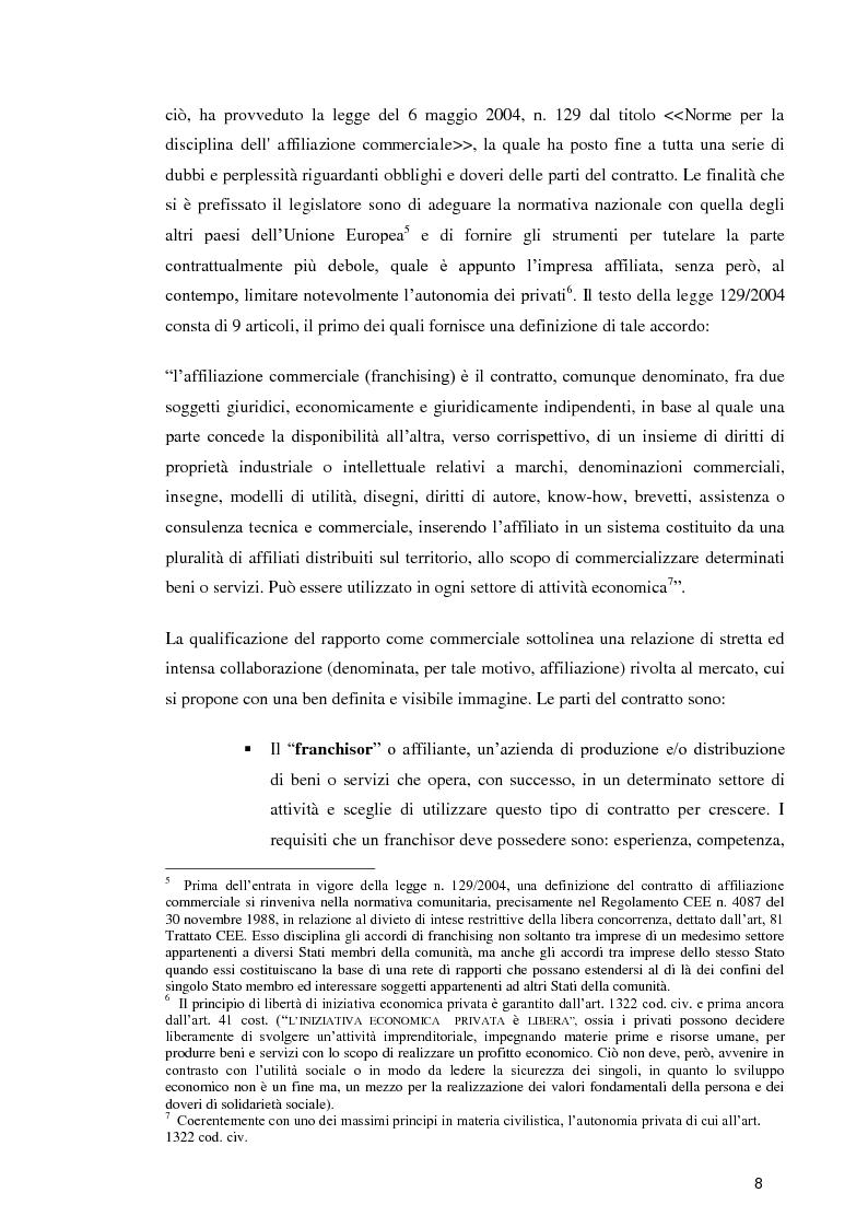 Anteprima della tesi: La formula Franchising nelle agenzie di viaggio. Profili giuridici ed aspetti contabili, Pagina 6
