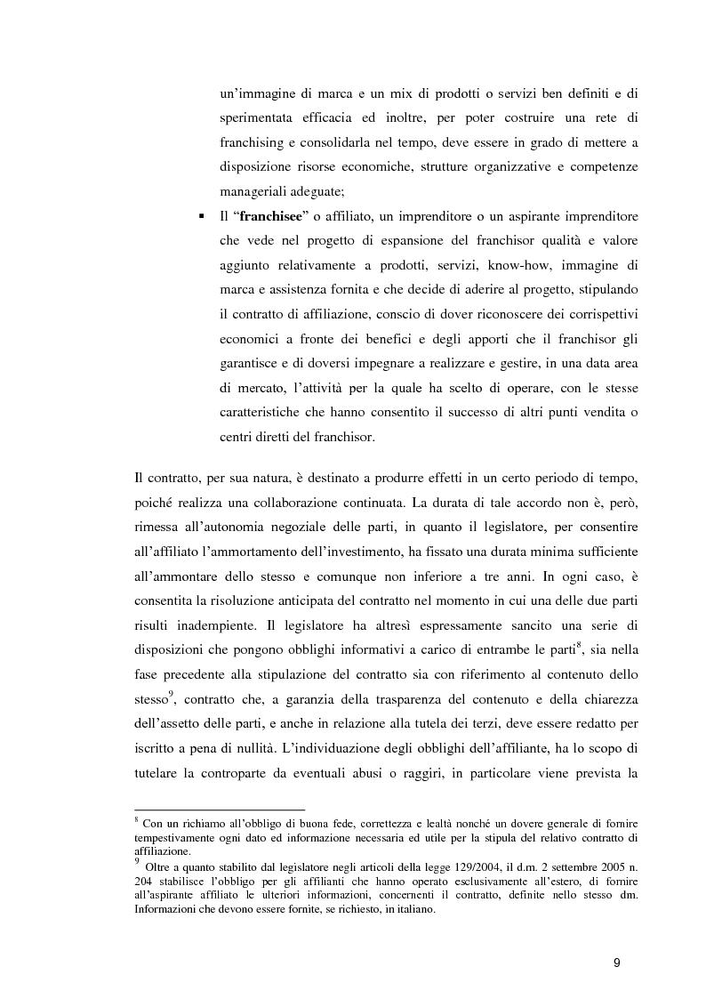 Anteprima della tesi: La formula Franchising nelle agenzie di viaggio. Profili giuridici ed aspetti contabili, Pagina 7