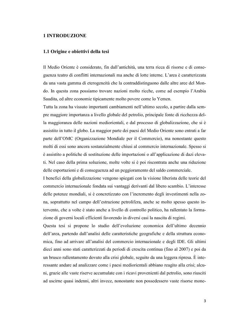 Anteprima della tesi: Il Medio Oriente: quadro macroeconomico e il caso Dubai, Pagina 2
