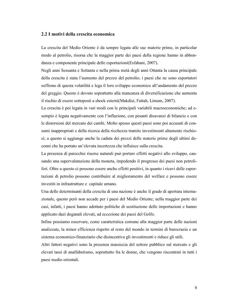 Anteprima della tesi: Il Medio Oriente: quadro macroeconomico e il caso Dubai, Pagina 8