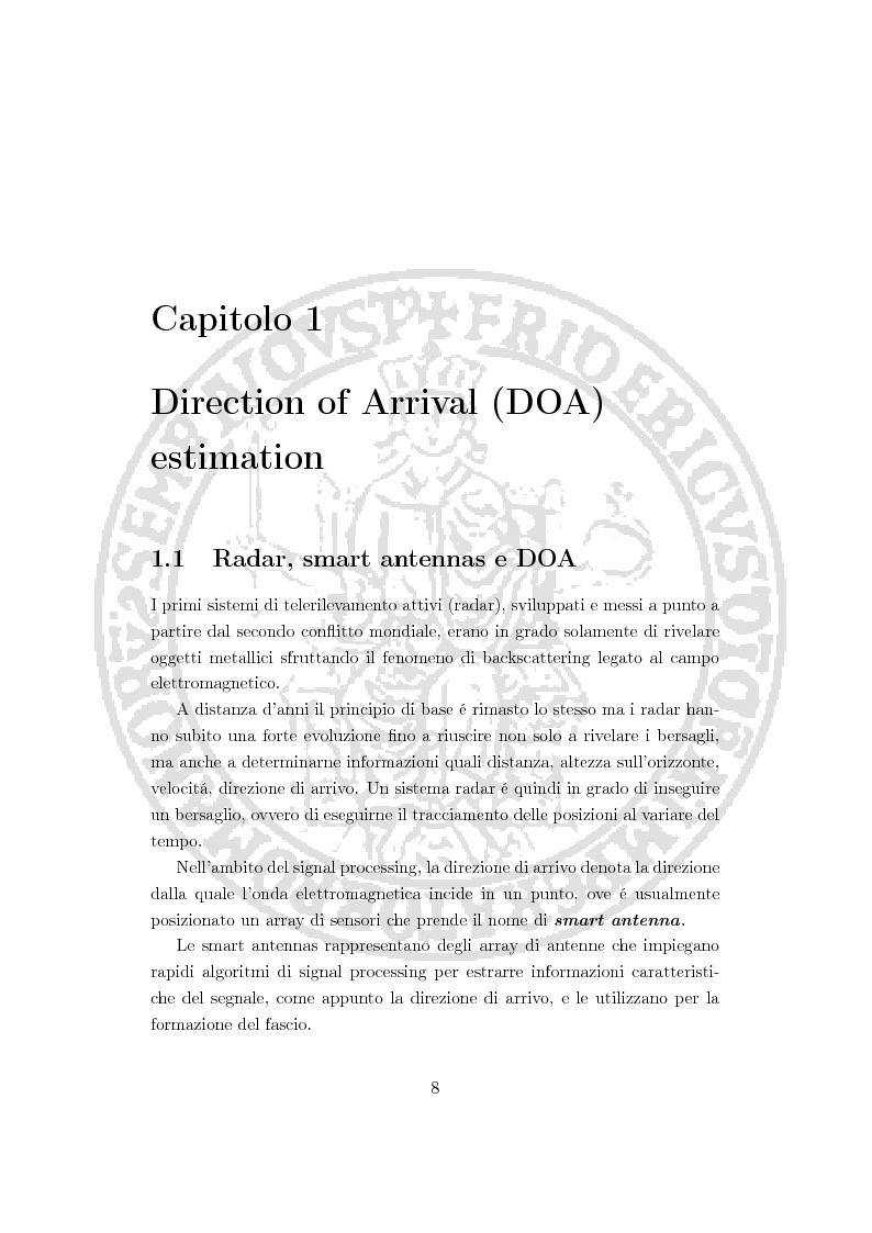 Anteprima della tesi: Un nuovo approccio alla stima della direzione di arrivo, Pagina 2