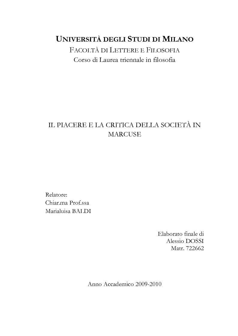 Anteprima della tesi: Il piacere e la critica della società in Marcuse, Pagina 1