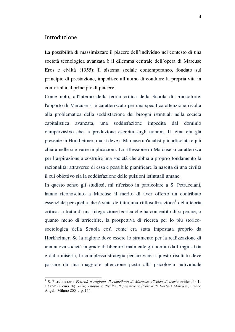 Anteprima della tesi: Il piacere e la critica della società in Marcuse, Pagina 2