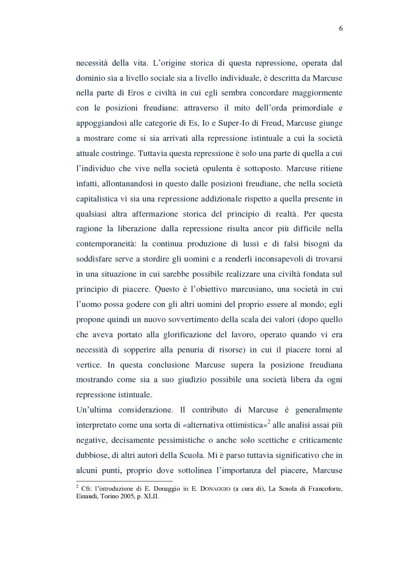 Anteprima della tesi: Il piacere e la critica della società in Marcuse, Pagina 4