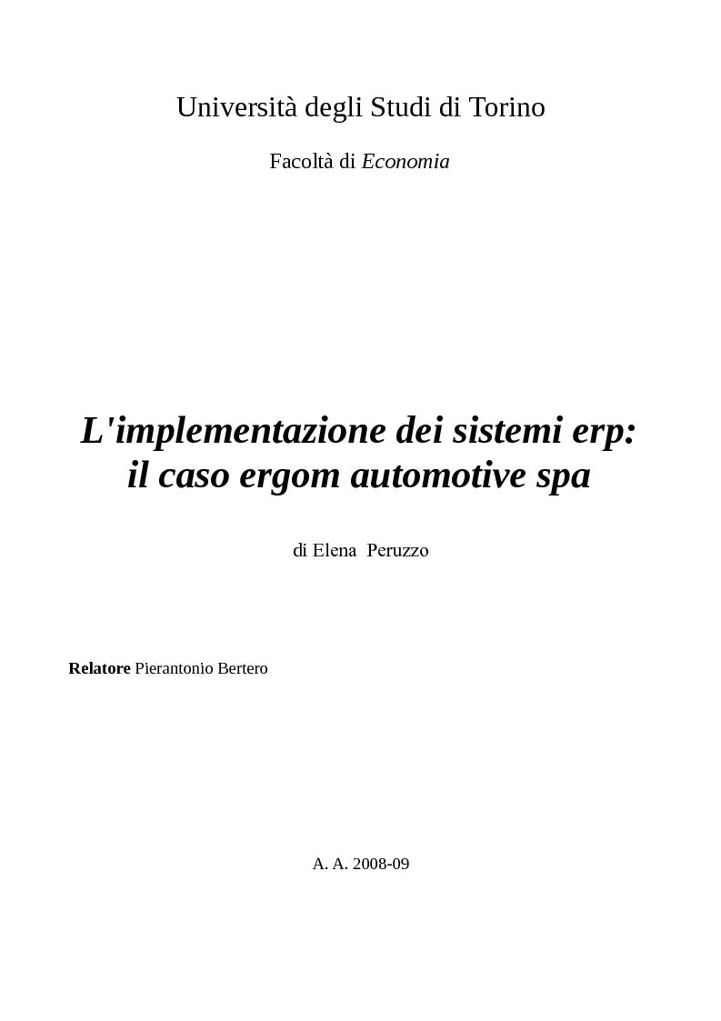 Anteprima della tesi: L'implementazione dei sistemi ERP: il caso Ergom Automotive SpA, Pagina 1