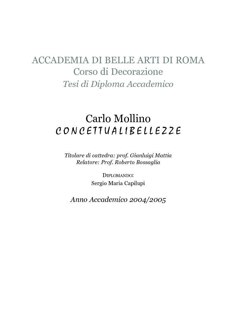 Anteprima della tesi: Carlo Mollino - concettuali bellezze, Pagina 1